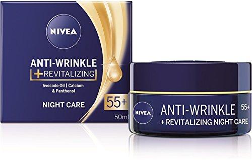 Nivea Anti-wrinkle + revitalizing night care face cream anti-aging 55+ with avocado oil, calcium and panthenol 50ml / 1.69 oz