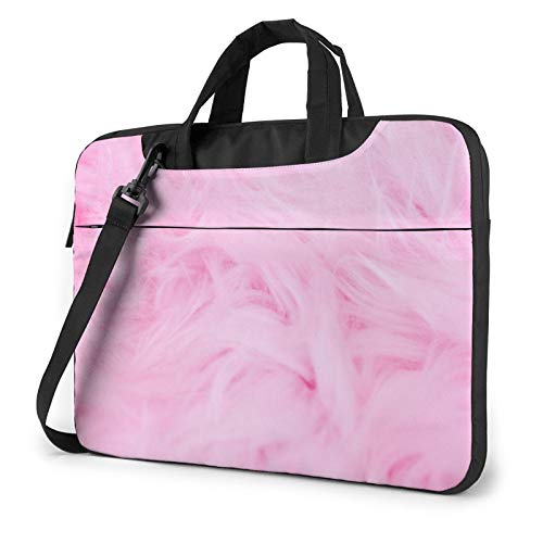 Laptop Shoulder Bag - Pink Velvet Furry Textured Pattern Printed Shockproof Waterproof Laptop Shoulder Backpack Bag Briefcase 15.6 Inch