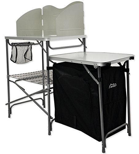 Andes Camping Field Kitchen Worktop Table Stand With Cupboard & Windshield