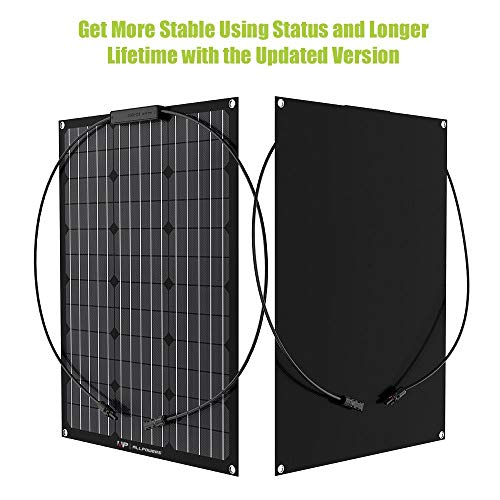 ALLPOWERS 100W 18V 12V Flexible Solar Panel Charger(with ETFE Layer, MC4 connectors) Bendable Water-Resistant Solar Charger for RV, Boat, Cabin, Tent, Car, Other Off Grid Applications- Updated