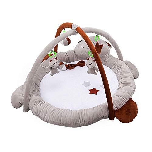 SMUOO Bärenbauch-Zeitmatte, weiche und gemütliche Baby-Spielmatten Fitness-Rahmen-dekoratives Spielzeug mit 5 Anhängern, geeignet für Babys von 0-24 Monaten