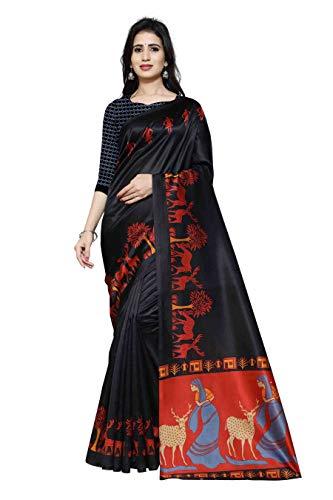 Winza Designer Women's Mysore Silk art silk Saree With Blouse (Black)