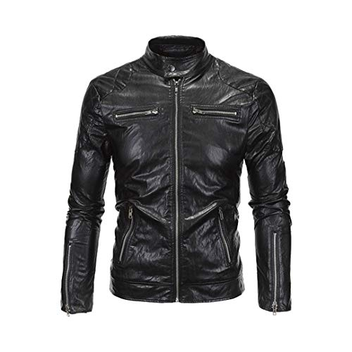 H-MetHlonsy Retro Motorradjacke PU-Leder-Mann-Weinlese Faux Motobike Punk Motorrad Lederjacke Biker Kleidung Y619 Black 4XL