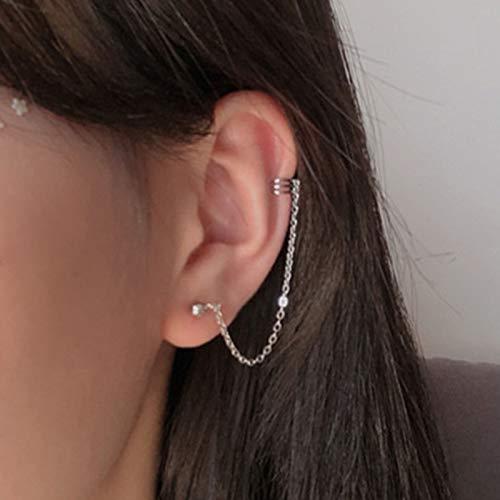 TseenYi Modische silberne Quasten-Ohrringe, Manschette, Kletter-Ohrringe, Einfädler, lange Kette, baumelnde Ohrringe für Frauen und Mädchen