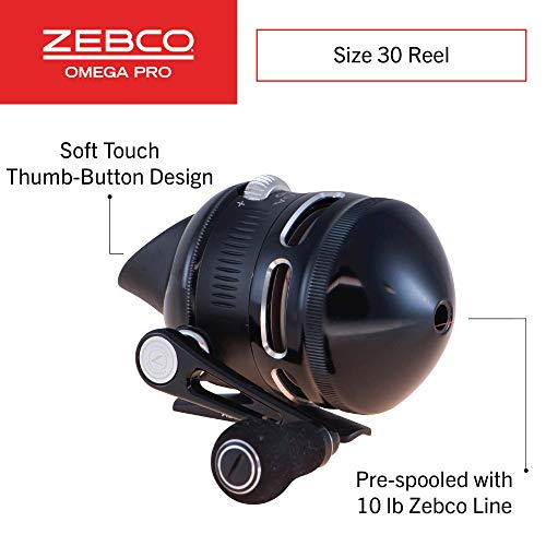 Zebco Omega Pro Spincast Fishing Reel, 7 Bearings (6 + Clutch), Instant Anti-Reverse with a Smooth Triple-Cam, Dial-Adjustable Disk Drag, Powerful All-Metal Gears, Spare Spool, Size 30, Multi (ZO3PRO,10,BX3)