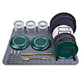 Meiliweser Silicone Dish Drying Mat XL(20' x 16'), Heat Resistant, Eco-Friendly, Easy Clean Silicone Drying Mat Large for Kitchen Counter/Sink/Refrigerator/Drawer Liner, Gray