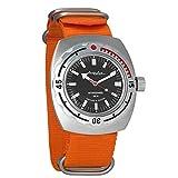 Vostok Amphibian cuerda automático para hombre reloj de pulsera militar Diver Anfibios funda reloj de pulsera # 090662 (orange)