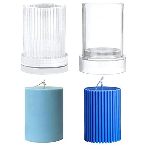 Hileyu 2 Stück Plastik kerzenformen für die Kerzenherstellung Säulenkerzenformen mit 2 Stück Metallkerzen Docht Zentriervorrichtung DIY Stereo Kerzengießform Seifenform für die Inneneinrichtung