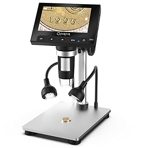 Coin Digital Microscope, Opqpq 50-1000X USB Microscope with 4.3'' LCD Screen and 32GB SD Card, 8+2 Adjustable Fill Lights, Metal Bracket, for Kids Adults, Windows Compatible
