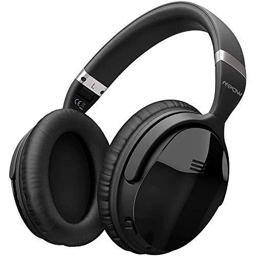Auriculares Bluetooth con cancelación de ruido Mpow, auriculares inalámbricos con sonido estéreo HiFi, micrófono incorporado, admite llamadas manos libres y modo cableado para teléfonos, PC, TV y viajes aéreos, negro, auriculares