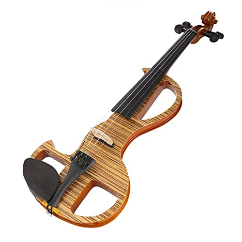 violín 4/4 Violin 5 Strings Hecho A Mano Tono Avanzado Madera Violín Eléctrico con Cáscara Kit de violín