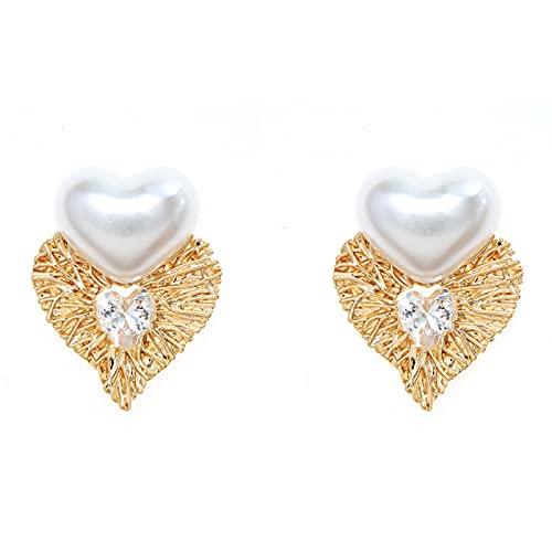 DFDLNL Alfileres de Oreja Corazón Piedra de Vidrio acrílico Blanco Regalos de San Valentín Pendientes Regalo para Mujeres niñas