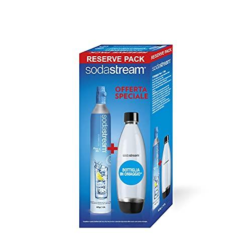 SodaStream Cilindro Ricarica Gas CO2 in Licenza d'Uso per Gasatore + Bottiglia in PET Fuse da 1 Litro per Gasatore