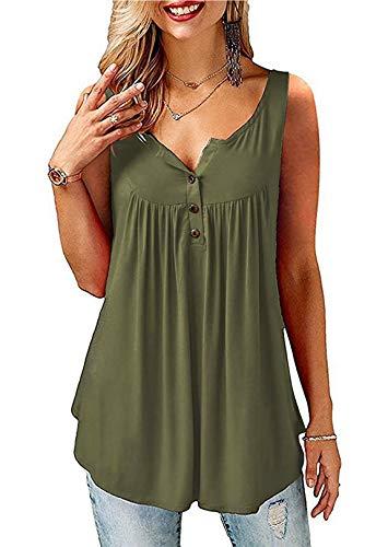 AMORETU T-Shirt Damen V-Ausschnitt Knopfleiste Bluse Solide Tunika Sommer Tops , Tanktop-armeegrün, XL/DE 50-52