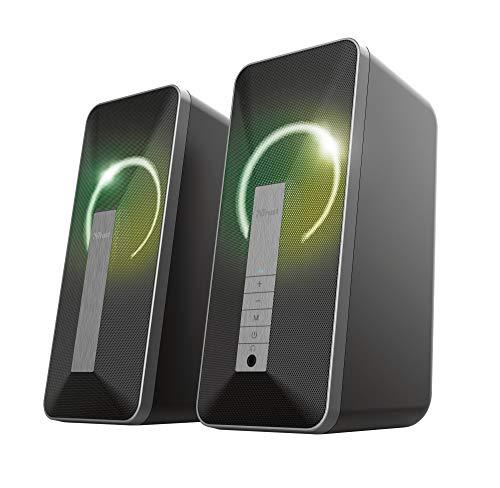Trust 2.0 Lautsprecher für PC mit Bluetooth Arva - Computer Boxen, Lautsprecherset mit RGB LED-Beleuchtung, Stromversorgung über USB, 20W, PC/Laptop