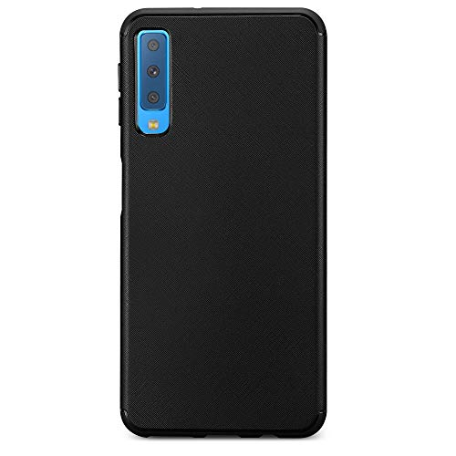 Kit Me Out World Case Abstract Series Case Designed for Samsung Galaxy A7 (2018), Full Matte Slim Fit Flexible TPU Minimal Durable Protection Case Cover Abstract Design (Black)