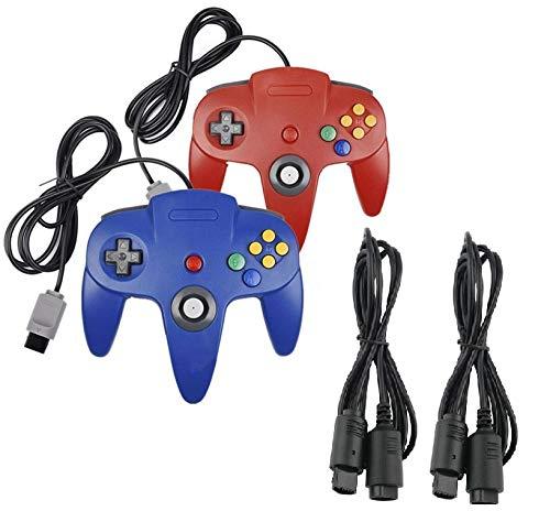 2 mandos para Nintendo 64 N64 rojo y azul con extensiones Gamepad Joypad