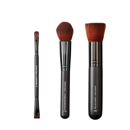 VEGAN LOVE Pack de 3 Pinceaux de Maquillage Multi Task + Small Pointed Face + Jumbo Flat Top