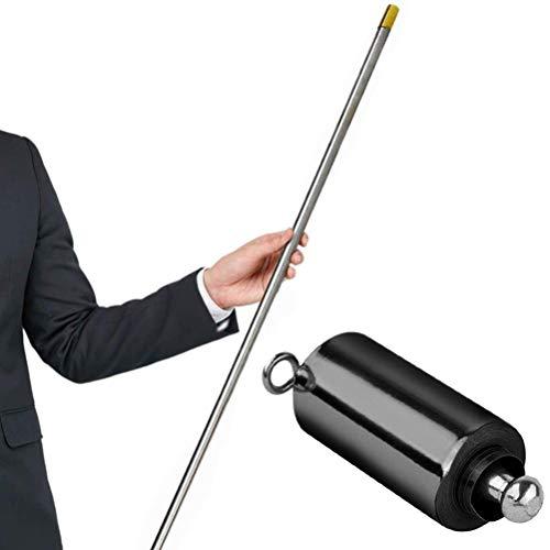 Varita mágica de 110 cm, bastón de Metal Plateado para Mago Profesional, Escenario, Personal de Bolsillo portátil, Trucos de Magia