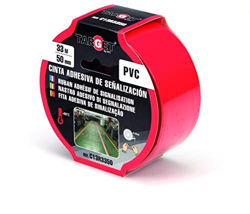 Cinta de señalización - TARGET - Adhesiva - Suelo - Advertencia - Señalización - Seguridad - Marcar - Roja 33m x 50mm - C13R3350