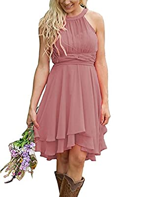 Meledy Women's Knee Length Country Bridesmaid Dresses Western Wedding Guest Dresses Short Maid of Honor Gown Dusty Rose US16