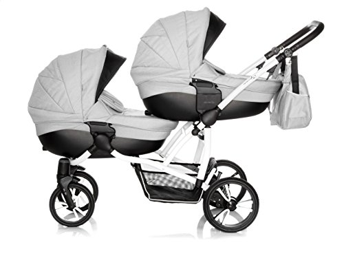 Bebetto Bebetto42 Twin Zwillingskinderwagen &Geschwisterwagen KombiKinderwagen Duo Babywagen Buggy Kinderwagen System + Wickeltasche + Regenschutz (3in1 (inkl. Babyschalen), 03. Light Grey-White)