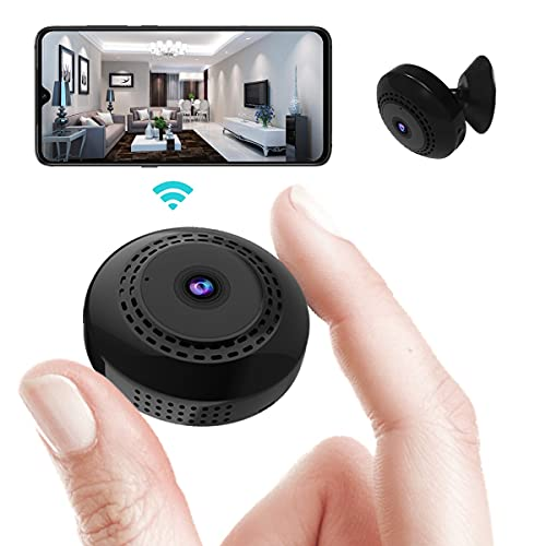 Mini WiFi Spy Camera 1080P, Wireless Hidden Spy Cam Audio and Video Recording Live Feed, Home Security Nanny Camera/Auto Night Vision/ Motion Activated Alarm(2021 Upgraded Phone APP) (Black)