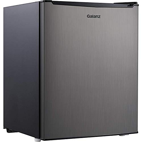 2.7 cubic foot compact dorm refrigerator Stainless Steel + Free Clean Fabric Cloth