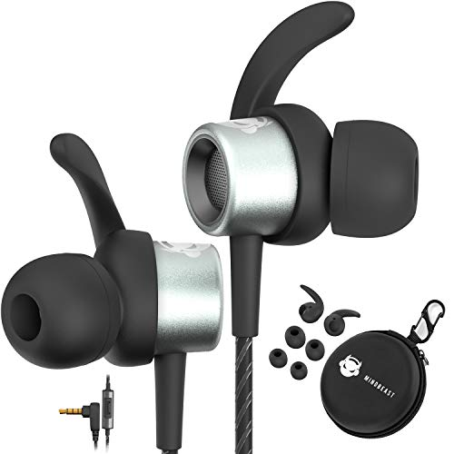 MINDBEAST Noise Cancelling Headphone in-Ear Wired Sport Earbuds Extra Bass Sound w/Microphone- Headset for Kids and Adults -Sweat Proof for Workout Running Sleep w/Travel Case for iPhone Andriod Xbox