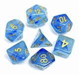 HD DND Polyhedral Dice Set Blue RPG Dice for Dungeons Dragons(D&D) Role Playing Game MTG Pathfinder Dice Table Game Flowing Series Double Color Transparent Dice Set (Ocean Elf)