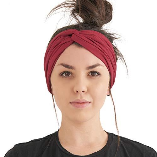 Turban Haarband Boho Style Damen - Sommer Stirnband Aus Damen Schweissband und Haareifen Headwrap Burgund