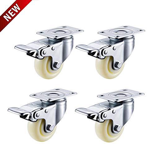 Casters 3 inches Swivel Castors met remmen Flatbed industrieel wiel 4 x 76mm Nylon Swivel Castors met remmen bureaustoel wiel - Meubels, Apparaat & Baby kinderwagen Max 400Kg per Set