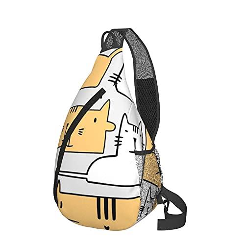 fepeng Moon and StarsSling Bag Crossbody Zaino Borsa a tracolla Escursionismo Sport Zaino, Gatto sorridente, Taglia unica