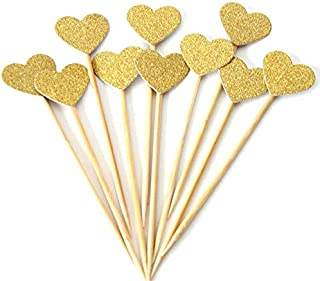 Gold Glitter Heart Cupcake Toppers Cake Decoration,50pcs.