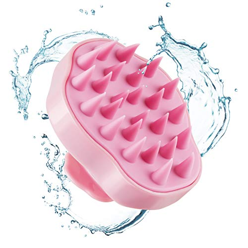 Hair Scalp Massager Shampoo Brush,Soft Silicone Hair Brush for Wet Dry Oily Curly Straight Thick Thin Rough Long Short Natural Men Women Kids Pets Scalp Care,Remove Dandruff Keep Scalp Healthy (pink)