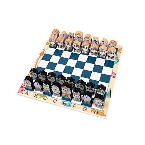 VREF Juego de ajedrez Juego de ajedrez Infantil, Tablero de ajedrez de Madera Maciza for Juguete de Juguete Tridimensional de Dibujos Animados for Principiantes Juego de Mesa de ajedrez de Viaje