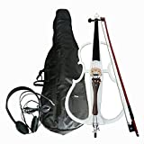 KEPOHK Instrumento de violonchelo eléctrico de madera oscura de tamaño completo 4/4 hecho a mano silencioso potente con bolsa de concierto blanco