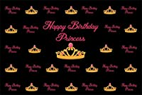 Qinunipoto 2.1m x 1.5m ビニール 背景布 写真撮影用写真の背景母妻プリンセス誕生日おめでとう背景お祝いパーティーデコレーション誕生日祝う言葉ゴールデンクラウン背景ポートレート写真スタジオブース背景