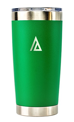 Aspen Green 20 oz Stainless Steel Tumbler with Lid, Double Walled, Vacuum insulated, Coffee Beer Mug, Cup, for Travel, Outdoor, Camping, wrapped in Velvet Bag
