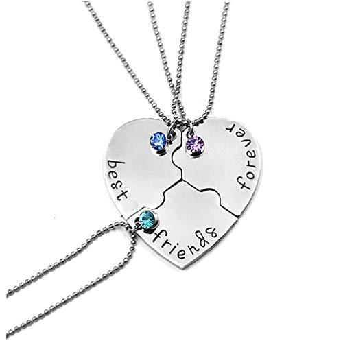 NIDONE 3pcs / Set Mejor Amigo para Siempre Collar De La Forma del Kit del Rhinestone Collar Corazón Colgante Amistad Puzzle Costura De La Joyería del Collar Regalo para Los Amigos