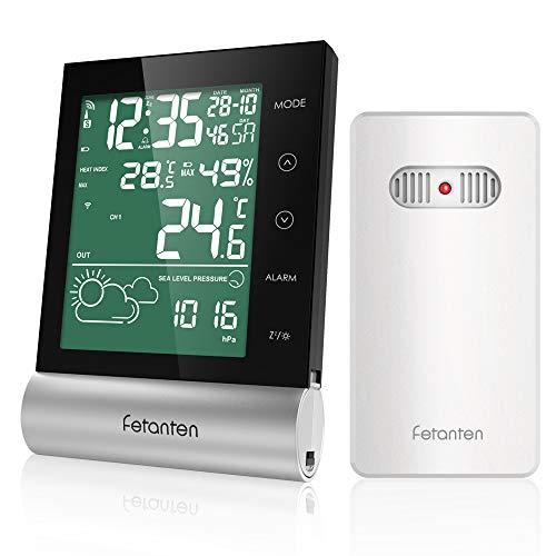 Wetterstation Funk mit Außensensor, Digital Thermometer Hygrometer Innen und Außen Raumthermometer Feuchtigkeit mit Wettervorhersage, DCF-Funkuhr, Wecker, Taupunkt und Wärmeindex