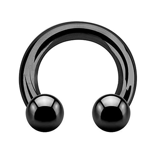 Treuheld® | Großer Hufeisen Piercing Ring | 5mm x 22mm | Kugeln 8mm | Chirurgenstahl | Schwarz | Circular Barbell | Intim, Ohr, Nase, Brustwarze