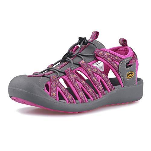 GRITION Frauen Athletisch Wandern Sandalen Geschlossene Zehe Wasser Schuhe Abenteuerlichen Outdoor Sport Trail Sommer (39 EU, Rosa)