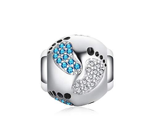 FeatherWish Charm-Anhänger mit Baby-Fußabdrücken, es ist ein Junge oder Mädchen, 925er Sterlingsilber, mit blauen und klaren Zirkonia, passend für Pandora-Armband oder Halskette