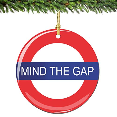 City-Souvenirs Mind The Gap Christmas Ornament, Porcelain 2.75 Inch London Christmas Ornaments