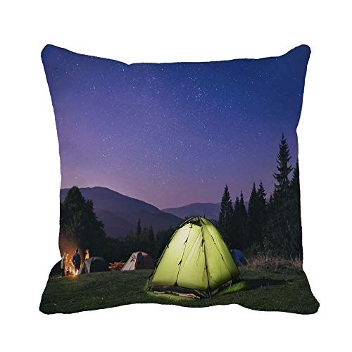 NA Throw Pillow Cover Adventure Green Tent Under Stars at Night Forest...
