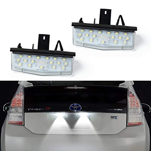 GemPro 2Pcs LED License Plate Light Assembly Replacement For Toyota Prius ZVW30 NHW20 Matrix Lexus Scion, Powered by 18SMD Xenon White LED Lights