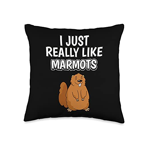 Funny Marmot Clothing Women Men Kids Quote I Just Really Like Clothes Marmot Throw Pillow, 16x16, Multicolor