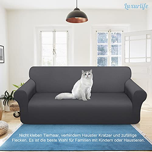 Luxurlife Copridivano spesso per divani a 3 posti, elasticizzato e antiscivolo, ideale per il salotto, di colore grigio