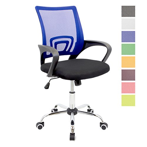 CashOffice - Silla de Escritorio Ergonomica, Silla de Oficina Giratoria con Respaldo Transpirable (Azul)